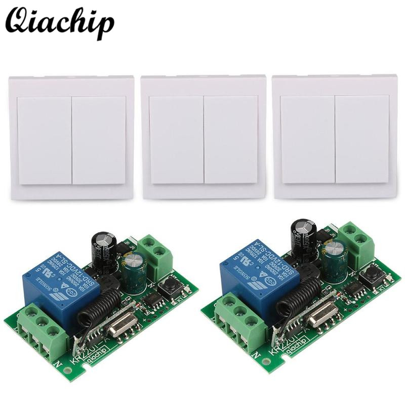 QICHIP 433Mhz 86 Wall Panel RF Transmitter Remote and 433 Mhz Wireless AC 85V-250V 1 CH Remote Control Switch Relay Receiver Diy 315mhz 433mhz ac 85v 250v 4ch rf wireless remote control switch 3pcs transmitter and receiver for rolling gate electric doors