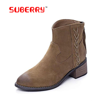 2016 New Top Quality Women Shoes Luxury Brand Chelsea Ankle Boots For Women Medium Heel 100% Genuine Nubuck Leather Womens Boots