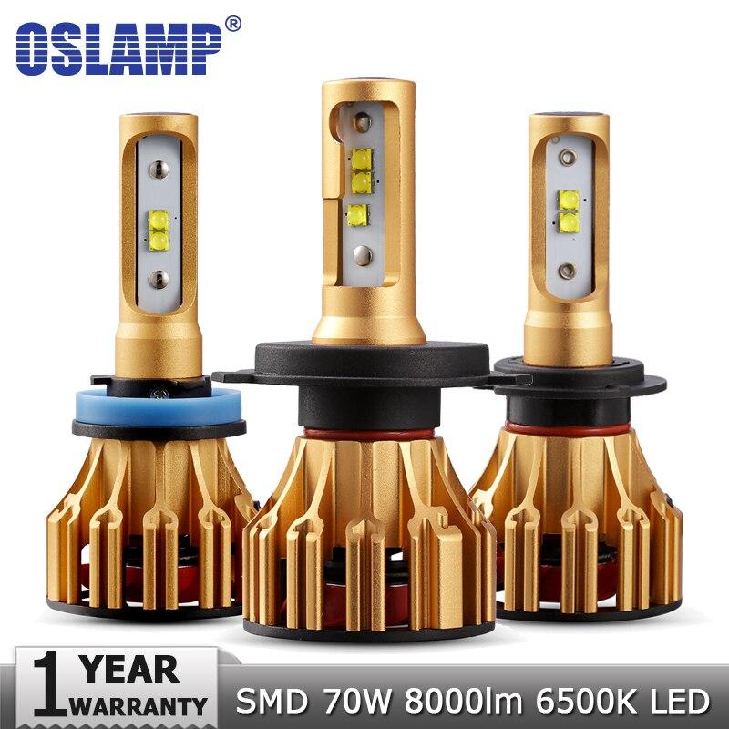 Oslamp H4 H7 H11 9005 9006 Car LED faros bombillas Hi lo haz SMD Chip 70 W 7000LM 6500 K 12 V 24 V Auto Led faro bombilla del coche