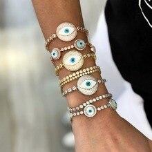 Роскошный браслет для тенниса со сглаза в турецком стиле с разноцветными камнями AAA, Потрясающие ювелирные изделия для женщин, Мода