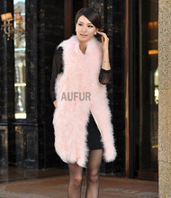 Real Ostrich Fur Vests Natural Fur Gilets Women Waistcoat Winter Outwear Fashion Handmade 100% Ostrich Feather Vests AU00793
