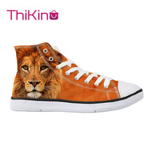 Thikin Animals Pattern High Top Canvas Casual Shoes for Teenager Popular Women Dog Sneaker Lovers