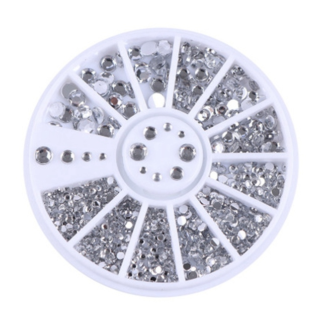 400 piezas de diamantes de imitación de uñas mezcladas en forma de diamante redondo de plata 1,5mm/2mm/3mm/4mm decoración de uñas 3D acrílico UV Gel decoración de uñas