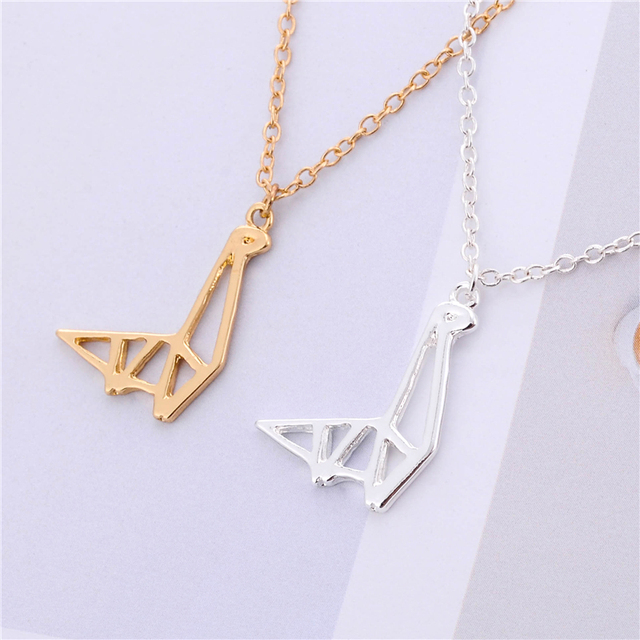 Delicate gold silver origami pendant dinosaur pendant necklace delicate gold silver origami pendant dinosaur pendant necklace unique design dinosour symbol necklace aloadofball Images