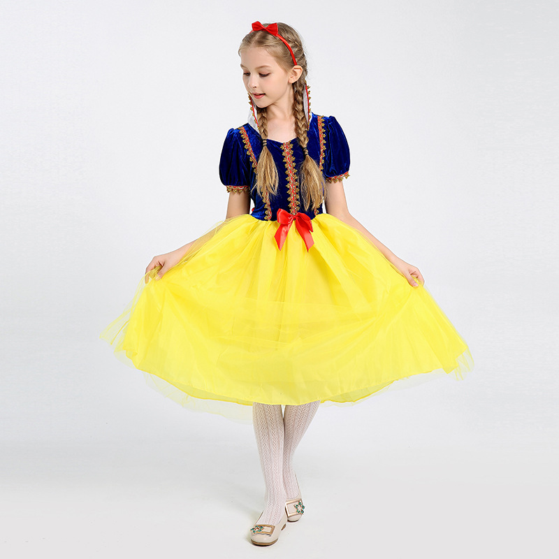 Deluxe Girls Princess Snow White Fairy Tale Child Kids Cosplay Performance Fancy Halloween Costume
