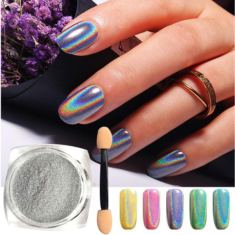 2g / Botol Perak Laser Holographic Nail Powder Glitter Nail Art Rainbow Chrome Pigmen DIY Manicure Charms Nail Art Decorations