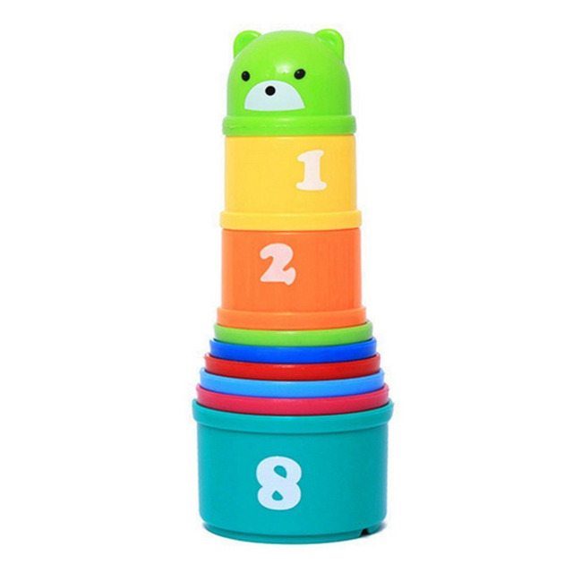 New Arrival Baby Child New Hot 9 Stacking Stacks Nest Tower Cups Count Number Letter Learning Play Toy for Kids Free Shipping-50