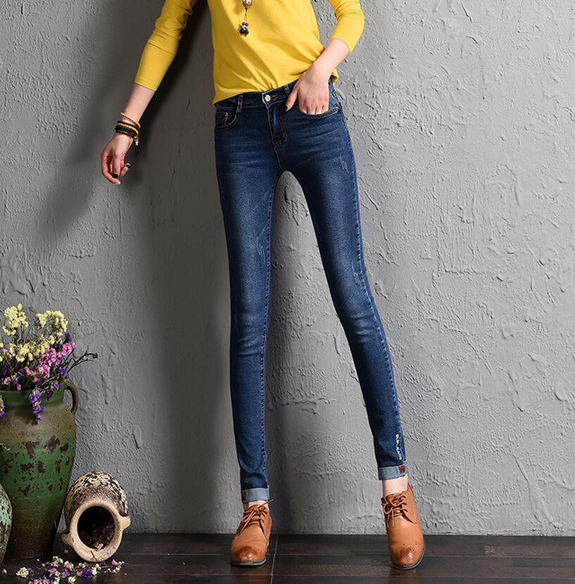 Skinny Embroidery Jeans Pencil Pants New Fashion High Waist Washed Scratched Women Full Length Trousers Blue Slim Denim Pants sexy diamond sequined scratched pencil pants washed low waisted full length denim women jeans trousers womans plus size