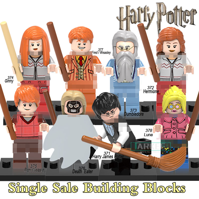 Harry Potter Professor Dumbledore Hermione Ron Fred George Death Eater Assemble Building Blocks diy figures Bricks Kids Toys harry potter ron weasley gregory goyle lucius malfoy argus narcissa professor sprout figures bricks toys for children kl9002