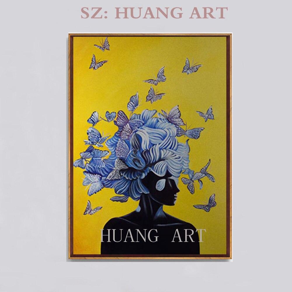 Main chaude chantant fille papillons volent sur leur tête Figure peinture à l'huile sur toile création art salon chambre peintures