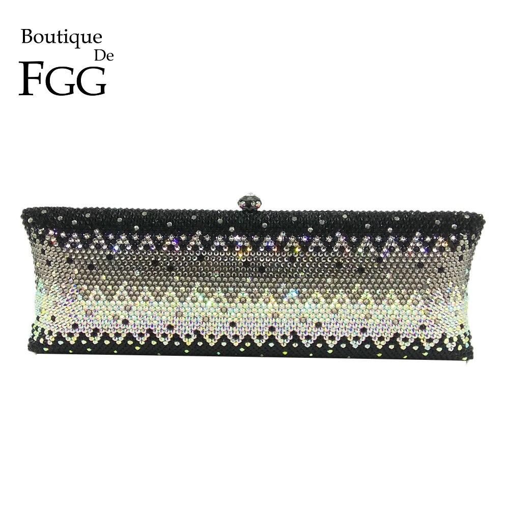 Boutique De FGG Sparkling Black Clear Crystal AB Women Long Metal Evening Clutches Handbag Wedding Diamond