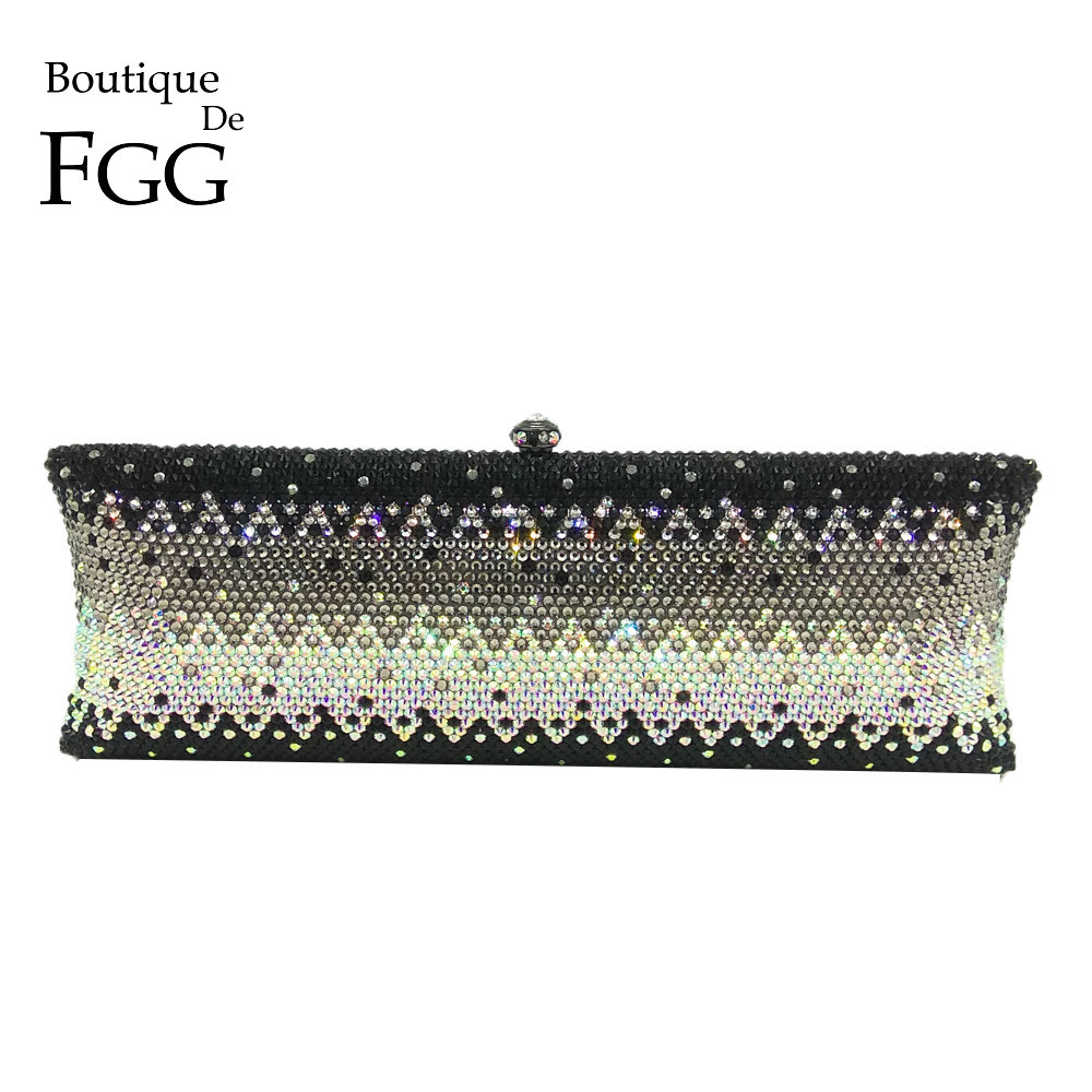 Boutique De FGG Sparkling Black & Clear Crystal AB Women Long Metal Evening Clutches Handbag Wedding Diamond Purse Bridal Bag