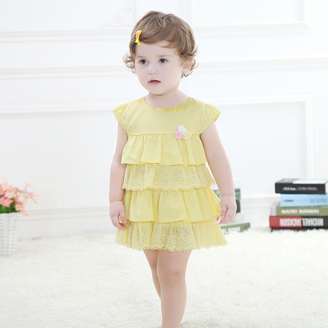 b51580535 Summer Cotton Baby Clothing Elegant Girl Dress Girls Fashion Party Princess  Cake Baby Girl Dress 0 2Y Little Girl Clothes-in Dresses from Mother   ...
