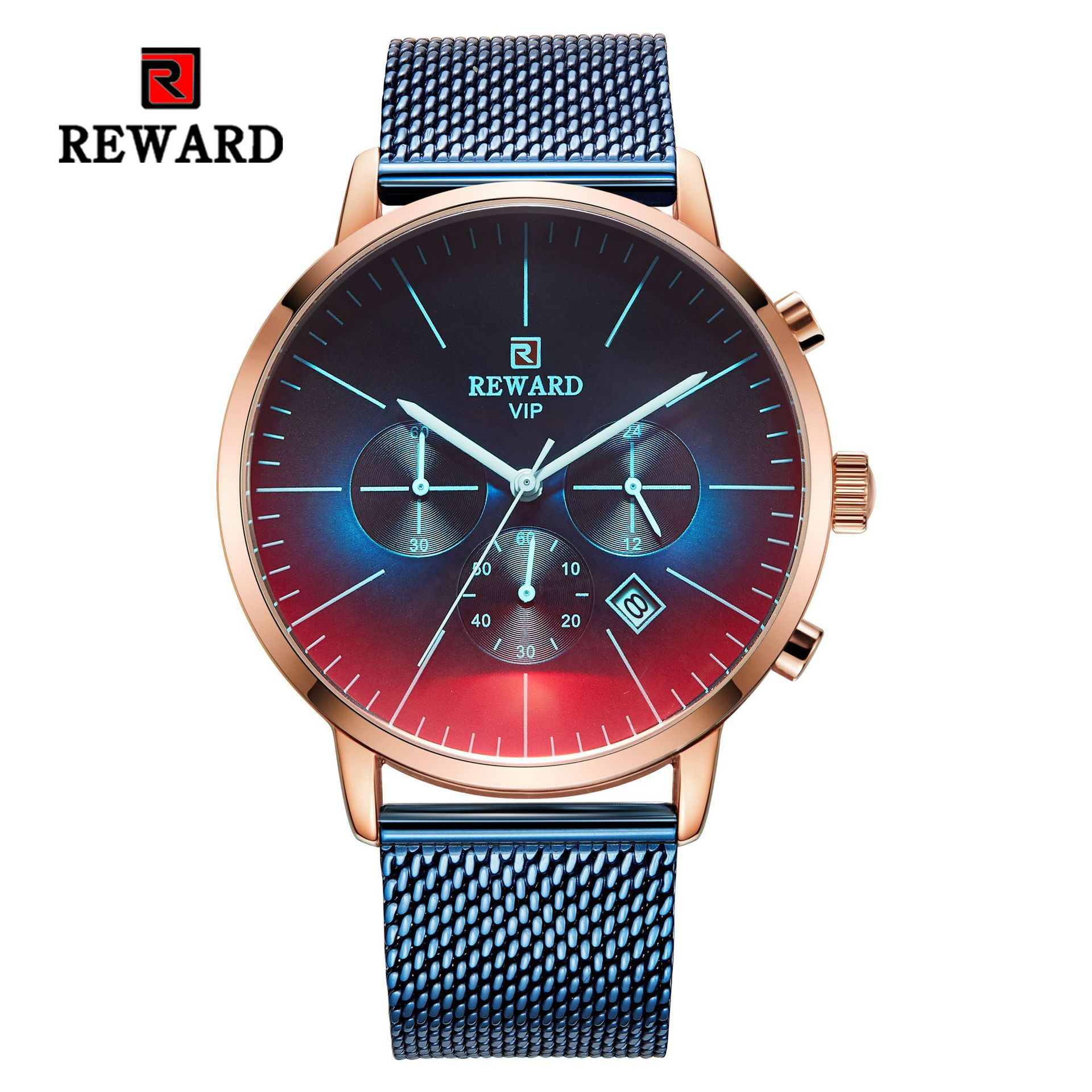 REWARD Military Sport Fashion Men Watch Top Quality Luxury Quartz Watches Clock Stainless Band Watch JD RD82004M in Quartz Watches from Watches