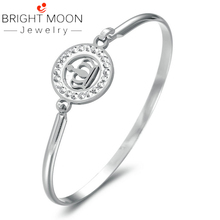 Bright Moon Bohemian Crown Bracelets Geometirc Sliver Bangle Rhinestone Stainless Steel Cuff Bracelet Women Jewelry