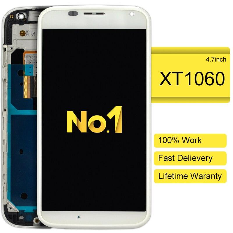 DHL 10pcs AAA For Motorola Moto X XT1060 XT1058 XT1056 XT1053 LCD Screen Touch Digitizer Frame Assembly+metal