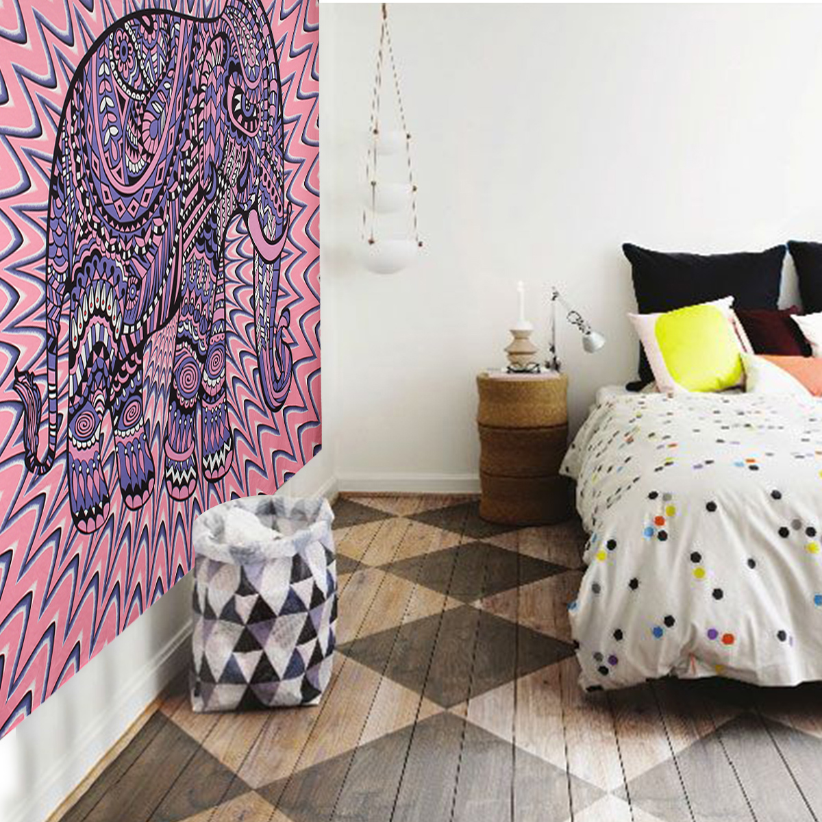 Elephant Mandala Tapestry Throw Towel Hippie Tapestry Floral Printed Home Decor Wall Tapestries Bedspread 210*150CM 18