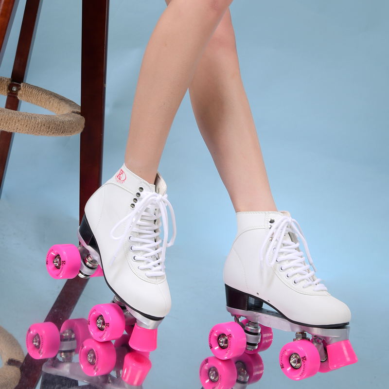Double roller skates roller skating 4 wheels pulleys shoes women s polyurethane pink wheels white shoes
