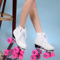 Двойные роликовые коньки роликовые катания 4 колеса шкивы обувь женские полиуретановые розовые колеса белые туфли бесплатная доставка