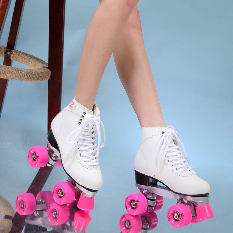 Double patins à roulettes patin à roulettes 4 roues poulies chaussures femme polyuréthane rose roues blanc chaussures livraison gratuite