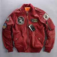 98288ef3b37 2019 Brand Genuine Leather Jackets Men's 100% Goat Skin Multi- labeling  Embroidery Pilot O
