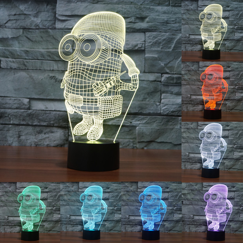 7 color changing lamp USB touch lamp desk light small yellow man 3D colorful LED visual light gift Christmas Gift IY803570