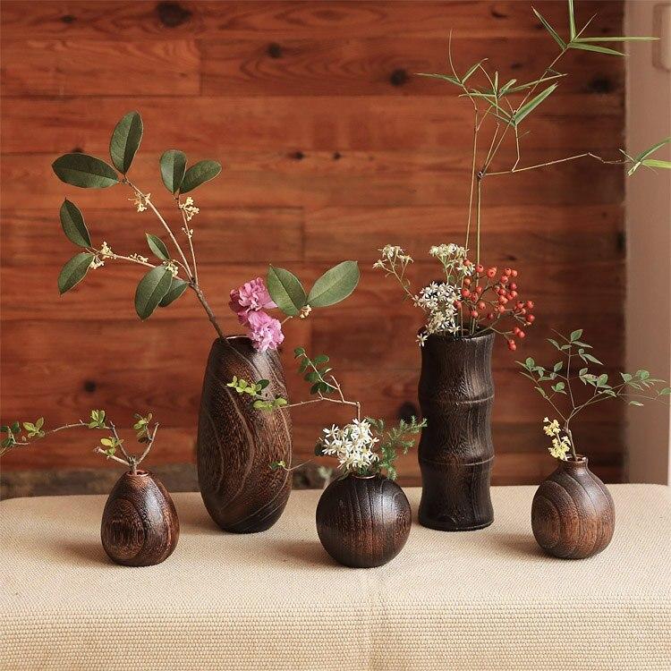 Handcraft Paulownia Wood Flower Vase Teriyaki Is A Wooden Vase Ornaments Table Table Small Vase