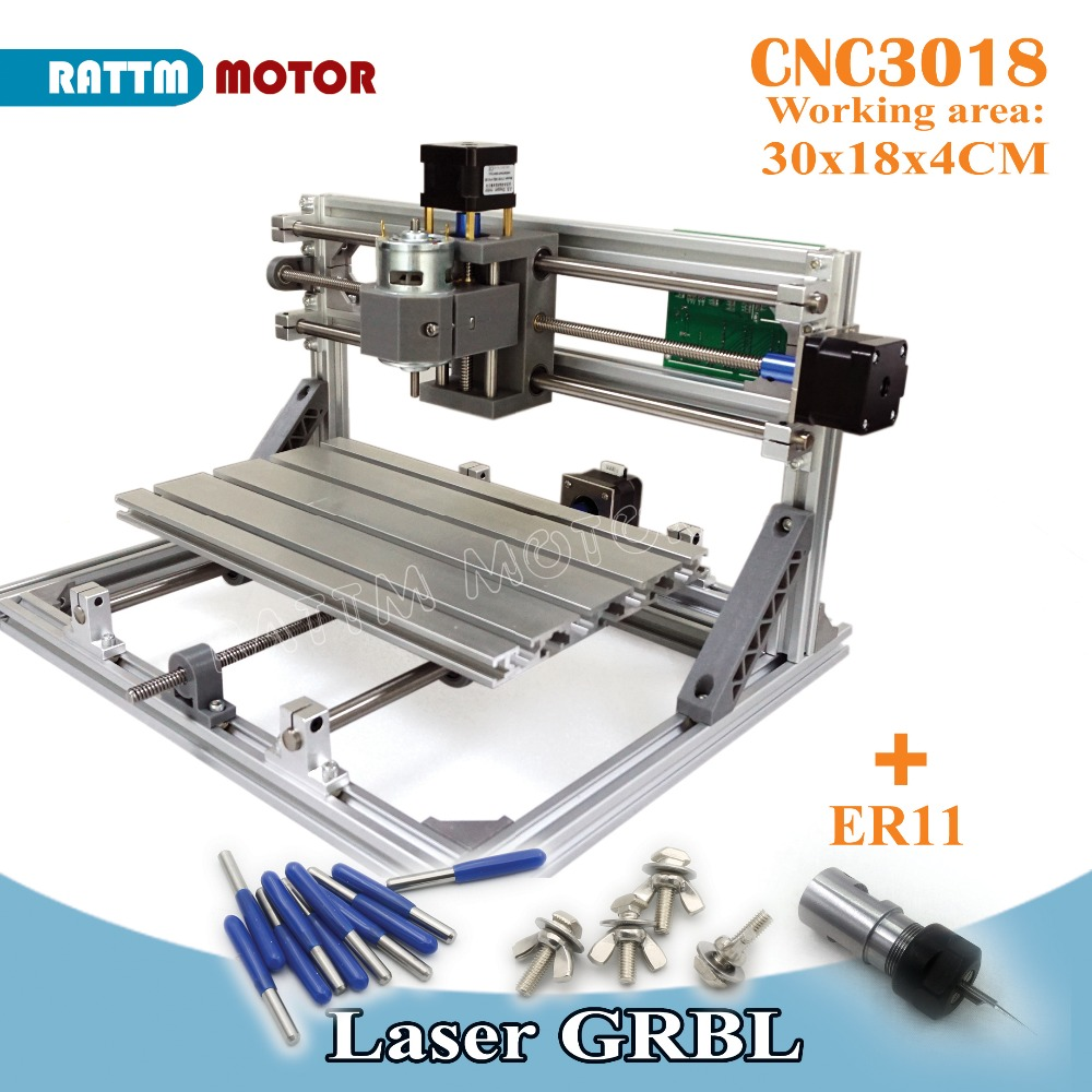 все цены на UA Ship!! CNC 3018 GRBL control Diy CNC machine 30x18x4.5cm,3 Axis Pcb Pvc Milling machine Wood Router laser engraving v2.5 онлайн