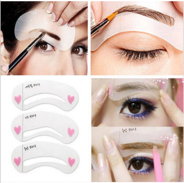 3 Styles Grooming Brow Painted Model Stencil Kit Shaping DIY Beauty Eyebrow Stencil Make Up Eyebrows Styling Tool eyebrow grooming kit