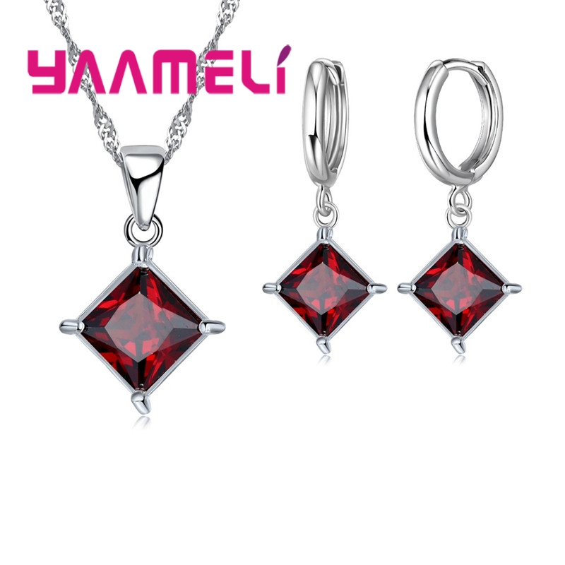 New Arrivals 925 Pure Crystal Rhombus Wedding Jewelry Sets AAA CZ Rhinestone Necklace Pendant Earrings For Women