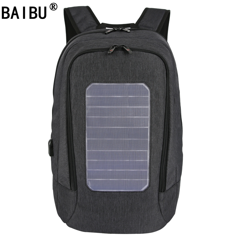 BAIBU External USB Solar Charge Anti-theft Backpack For Men Women Laptop Backpack Waterproof Business Fashion Travel Backpack men s backpack anti theft usb charging travel backpack waterproof nylon unisex school bags for female laptop business backpack