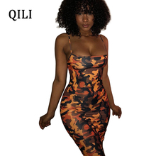 QILI Camouflage Print Dress African Women Vintage Yellow Bodycon Dresses Ladies Summer Spaghetti Strap Sexy Party Casual Dress fashion 2016 summer dress party dresses women print corset vintage spaghetti strap full dress suspenders dress woman s gown