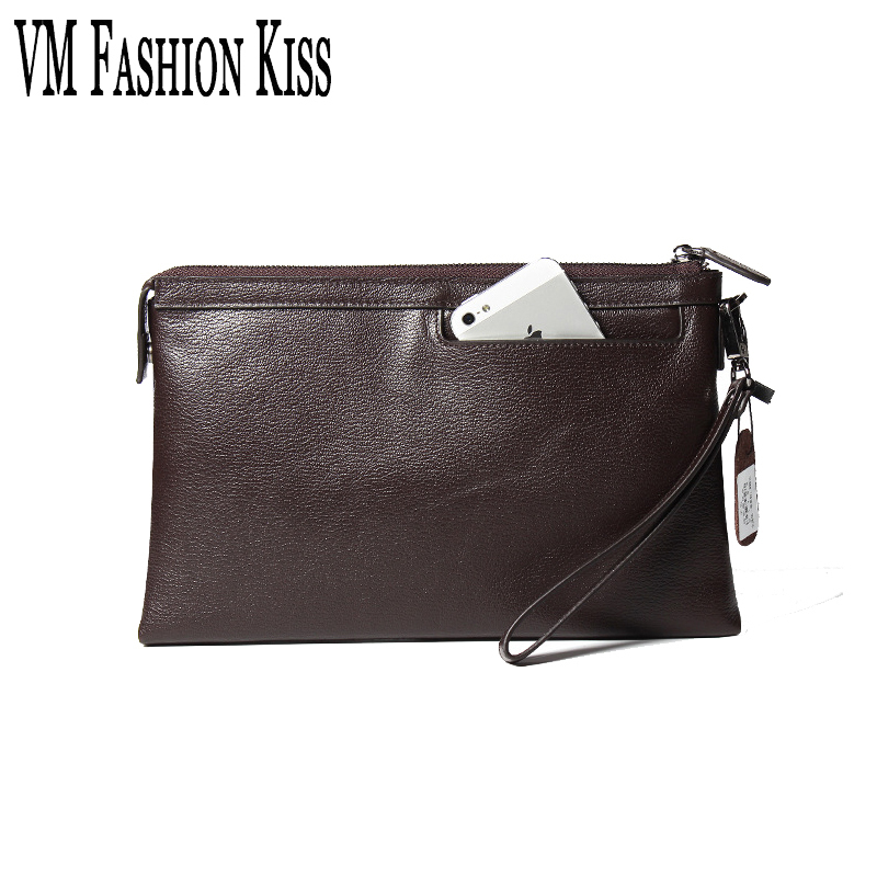 VM FASHION KISS Business Large Capacity Genuine Leather Man Wallet Holder Credit Card Coin Purse Men Wallets Male Clutch Wallet j quinn smart men zipper wallet portfolio cow leather business hasp men s purse credit card holder passport soft purse for man