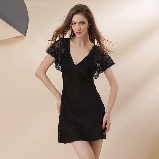 2017 Spring Summer design silk nightgowns sexy V-neck homewear dress short lace sleeve women babydoll sleepwear night dress