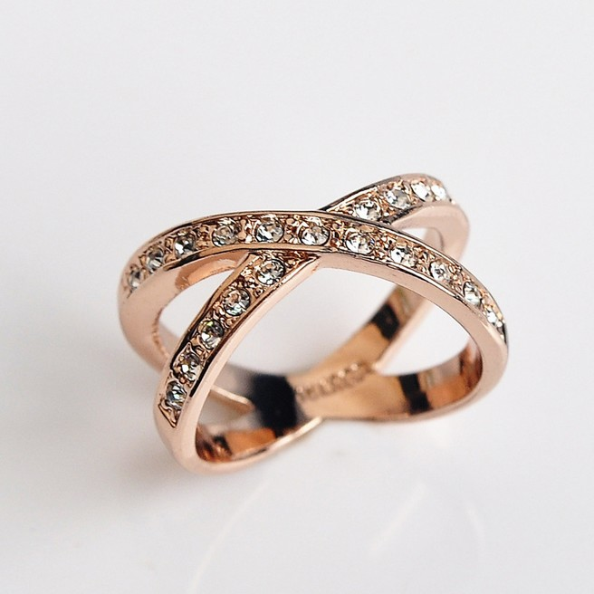 USTAR Geometric Rose Gold color Engagement rings for women Made with 100% Austria Crystals Anel High Quality