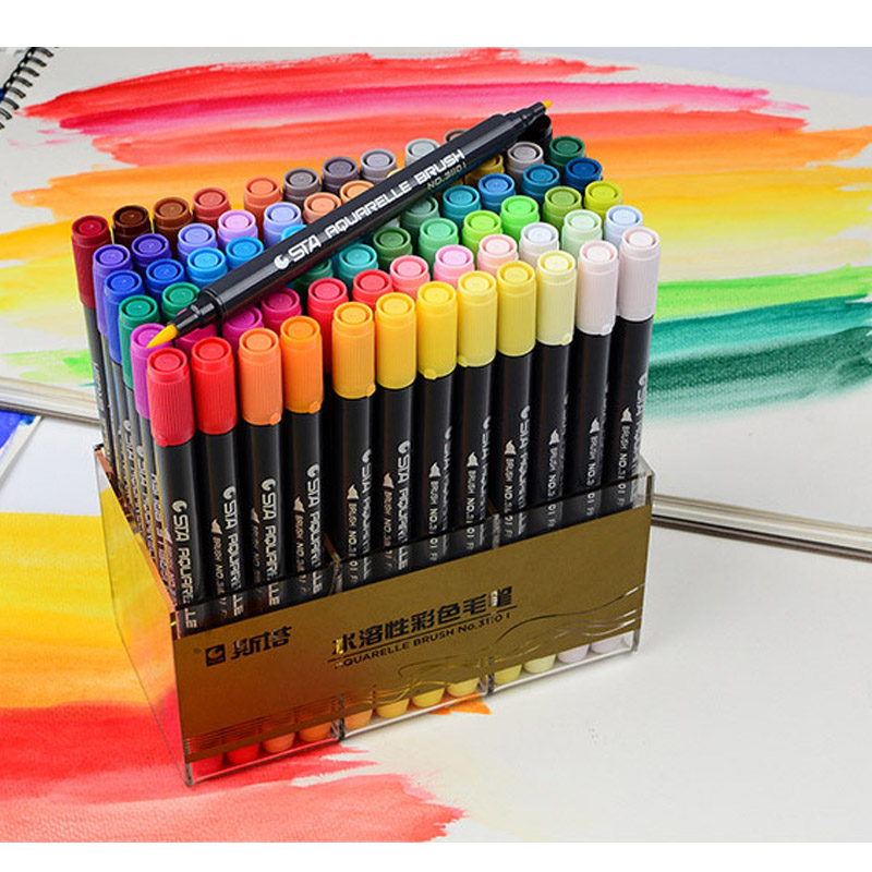 12/24/36/48/72/80 Colors Art Marker Set Water Based Ink Twin Tip Soft Brush For Art and Graphic Drawing Manga FineTip