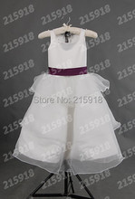2016 Hot Ball Gown Flower Girl Dress for Wedding Cap Sleeve Sleeveless Dress for Child Layer