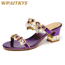 Exquisite Women Sandals Fashion Blue Golden Purple Three Colors Available Rhinestone Metal Decoration Leather Casual Shoes