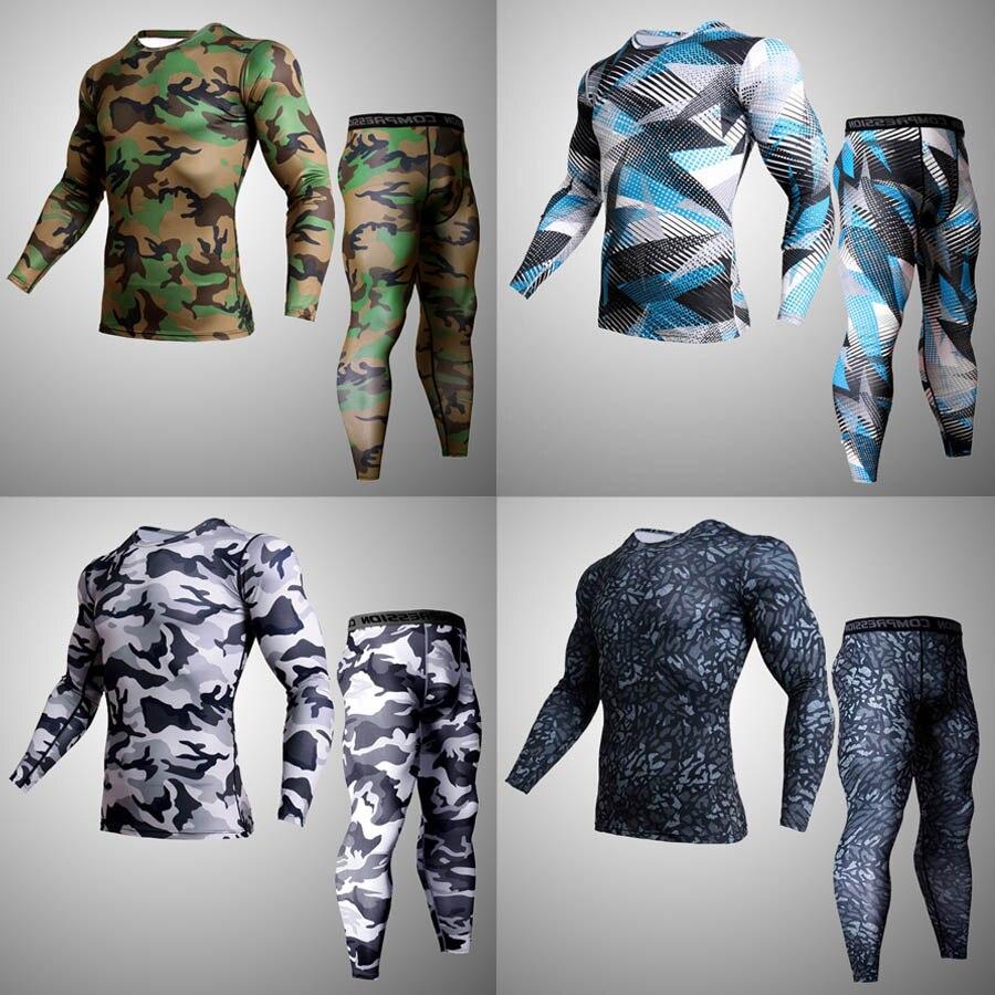 669d63abc8 2018 nova camuflagem execução homens terno agasalho terno cueca compressão  de fitness ginásio jogging treino de