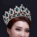Retro Baroque Large Green Rhinestone Wedding Queen Crown Red Blue Crystal Bridal Pageant Round Hair Tiara For Bride Head Jewelry