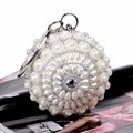 Elegant Double Side Silver Pearls Striped Evening Bag Handmade Circular Ball Diamond Clutch Handbags Bride Wedding Shoulder Bags