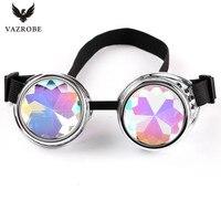 Vazrobe Cool Kaleidoscope Glasses Men Women Party Hippie Sunglasses Steampunk Gothic Goggles Round Sun Glasses Colorful