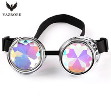 Vazrobe Cool kaleidoscope glasses men women party hippie sunglasses steampunk gothic goggles round Sun Glasses Colorful Lens
