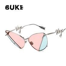 6e9644e0fcf BUKE 2018 New Cat s eye sunglasses Women s latest design rivet color  Patchwork glasses Personality Lens leg UV400 WY025