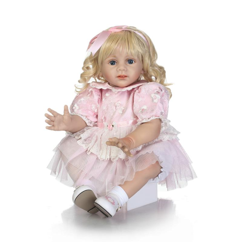 60cm Big Size Reborn Babies Dolls Girls Reborn Toddler Silicone Dolls Blond Hair Girl Pink Dress Bebe Real Reborn Kids Gifts Toy new arrived 55 60cm silicone reborn baby dolls fridolin sweet girl real gentle touch rooted human hair with pink dress newyear