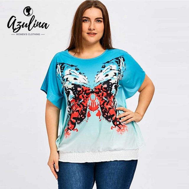 9299ca59969cb AZULINA Plus Size Butterfly Blouson T-Shirt Women O Neck Batwing Sleeve  Ladies Tops Summer T-Shirts Women T Shirts Pullover 5XL