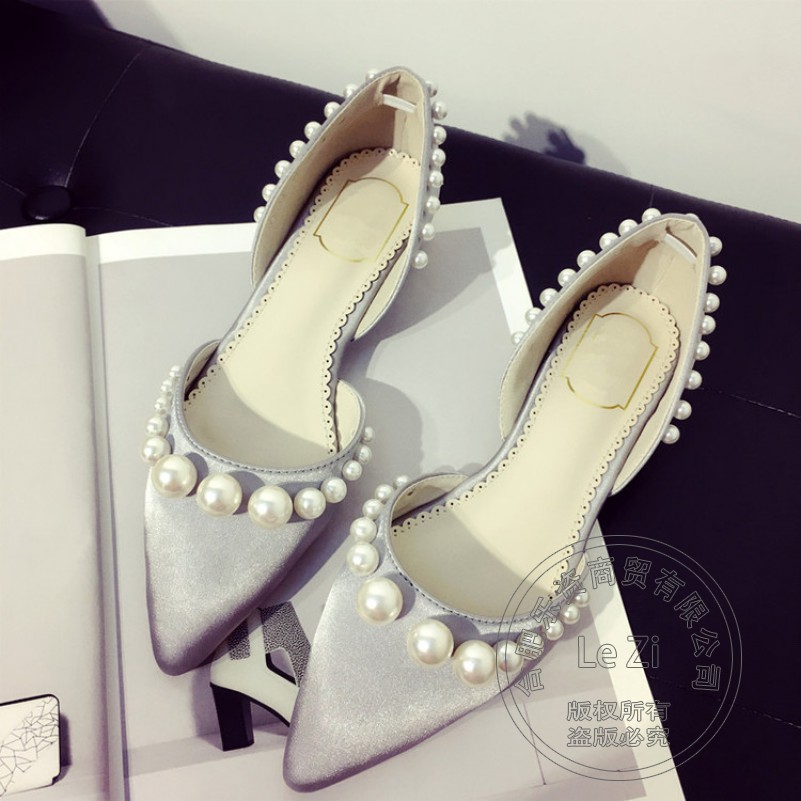 Beading Pure Color font b Women b font Summer Shoes Soft Leather Young Girl Pearl Shoes