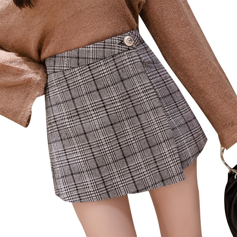 High waist plaid   shorts   skirts for women 2019 autumn korean woolen   short   pants winter warm booty   shorts   ladies irregular   shorts