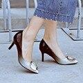 Super Elegante de Las Mujeres Bombas Moda Punta estrecha Tacones Finos Bombas de Gradiente de Alta Calidad Negro Azul Zapatos de Mujer de Tamaño EE.UU. 3.5-10.5