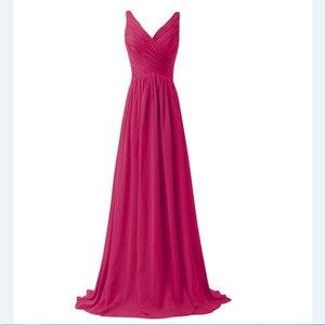 Image 5 - LLY1130Z # vネックスパゲッティストラップレースアップ紫ブルー花嫁介添人ドレスウェディングパーティードレス花嫁ファッションの女の子